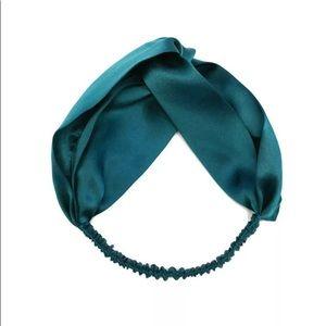 Accessories - Peacock Blue Pure Silk Twisted Elastic Headband